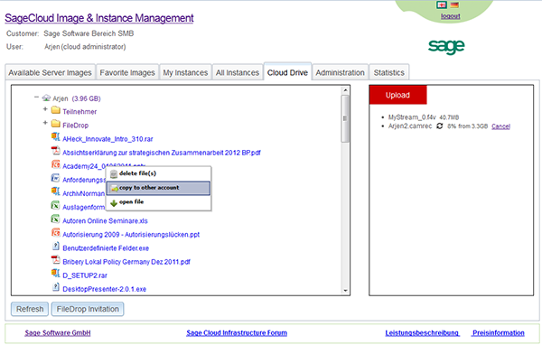 The Cloud Drive on the Sage Cloud Services Portal